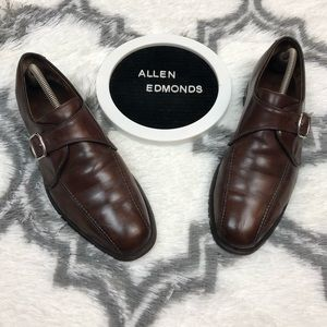 Allen Edmonds Concord Brown Monk Strap Loafers 10
